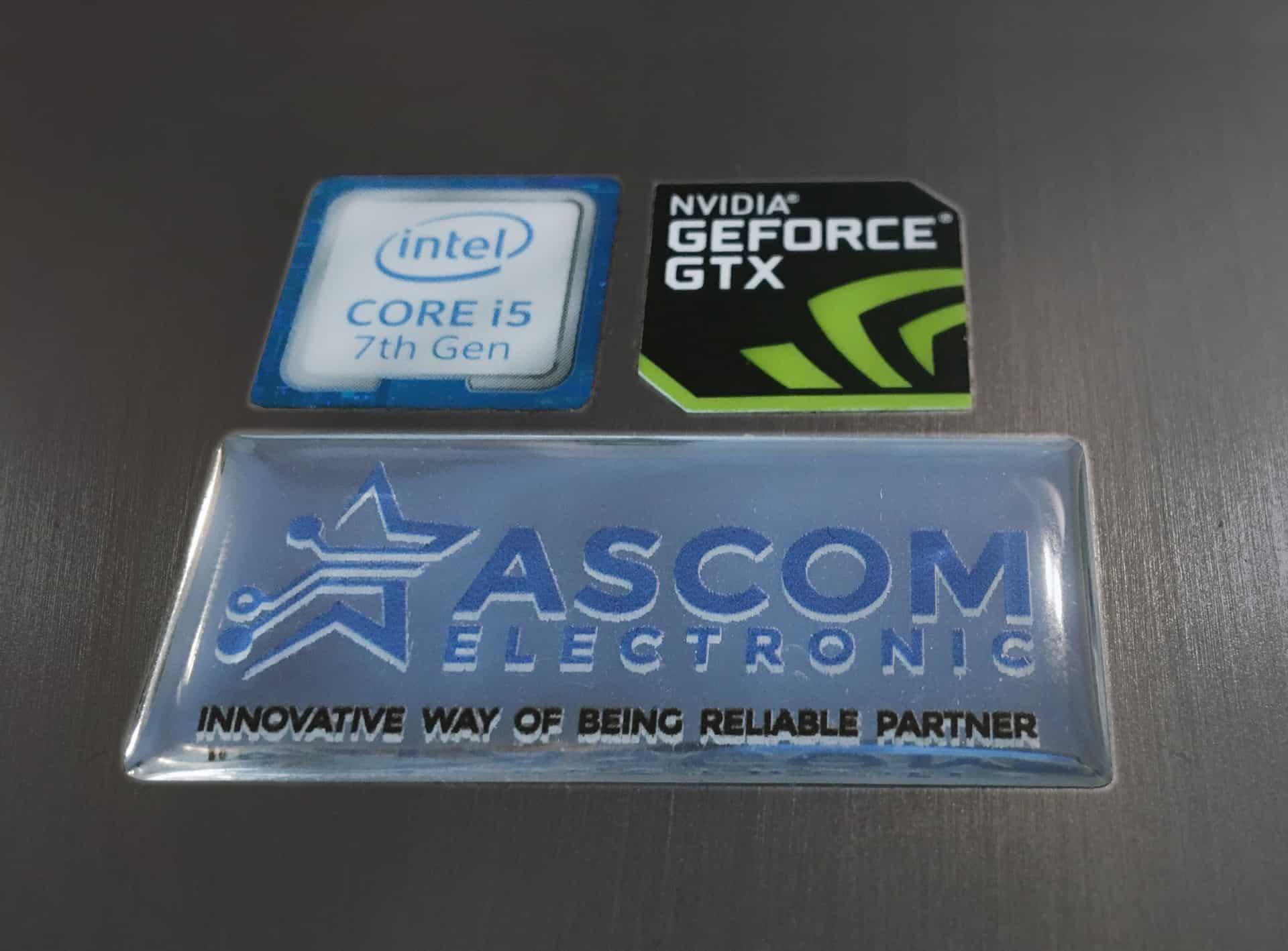 naklejki przeźroczyste wypukłe z logo ASCOM ELECTRONIC