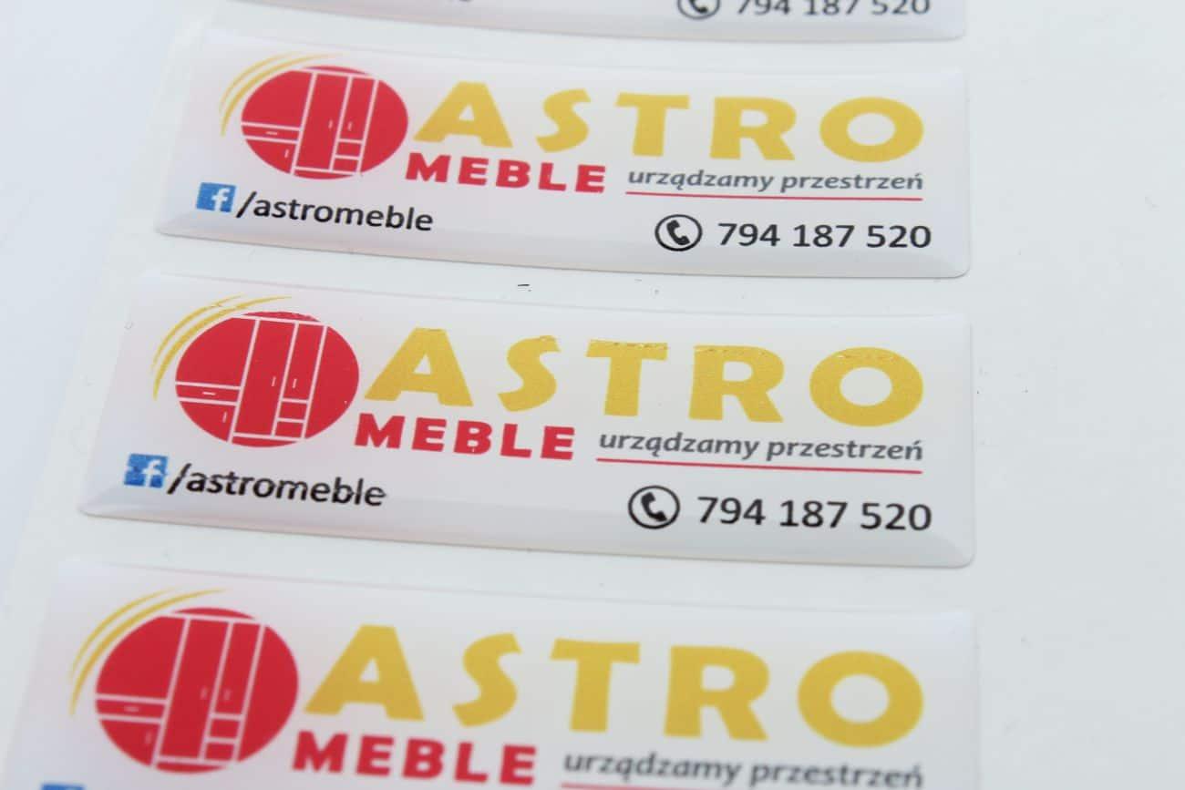 naklejki wypukłe z logo dla Astro meble