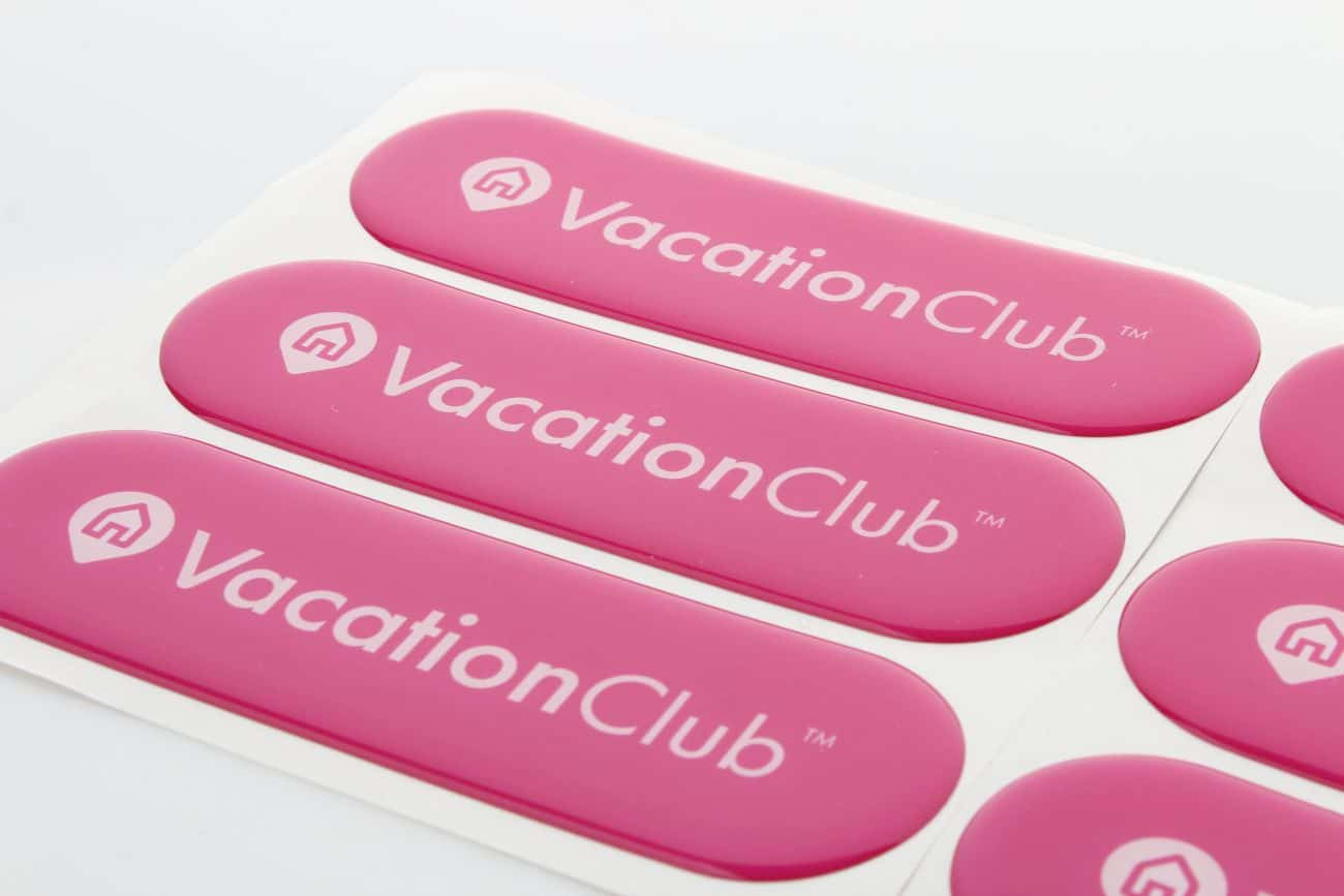 naklejki wypukłe 3d z logo VacationClub