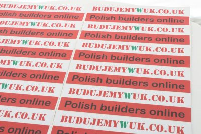 naklejki z nadrukiem logo Polish Bulders