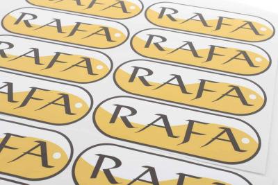 naklejki z nadrukiem logo Rafa
