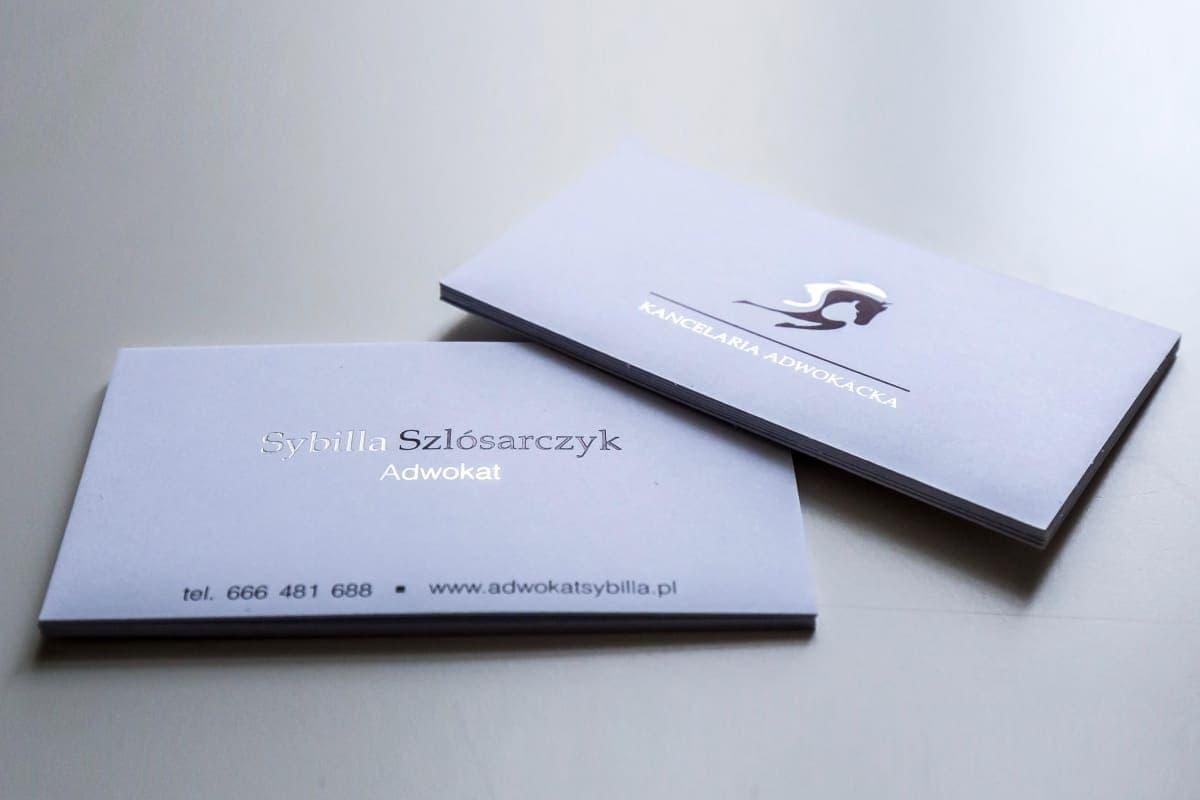 realizacja na wizytówki dla kancelarii Sybilli Szlósarczyk