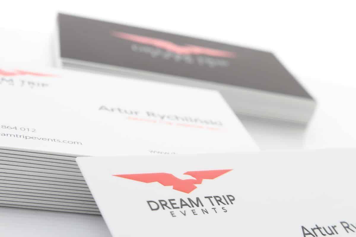 realizacja na grube wizytówki dla firmy Dream Trip events