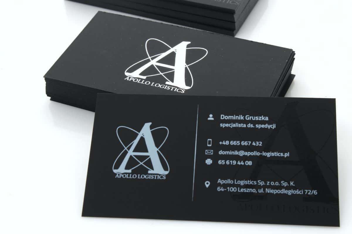 wizytówki srebrzone na papierze barwionym Apollo Logistics