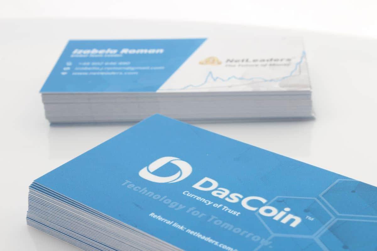 realizacja na wizytówki reklamowe dla firmy DasCoin