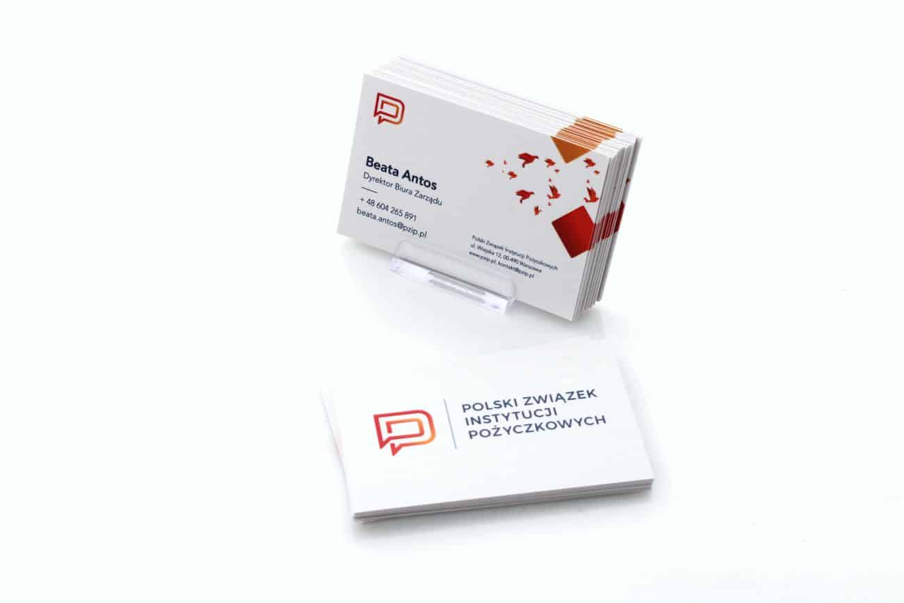 grube wizytówki z wypukłym lakierem UV dla Polski Związek Instytucji Pożyczkowych
