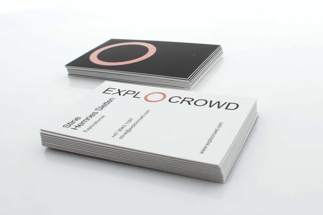 wizytówki z wypukłym lakierem UV dla firmy EXPLOCROWD