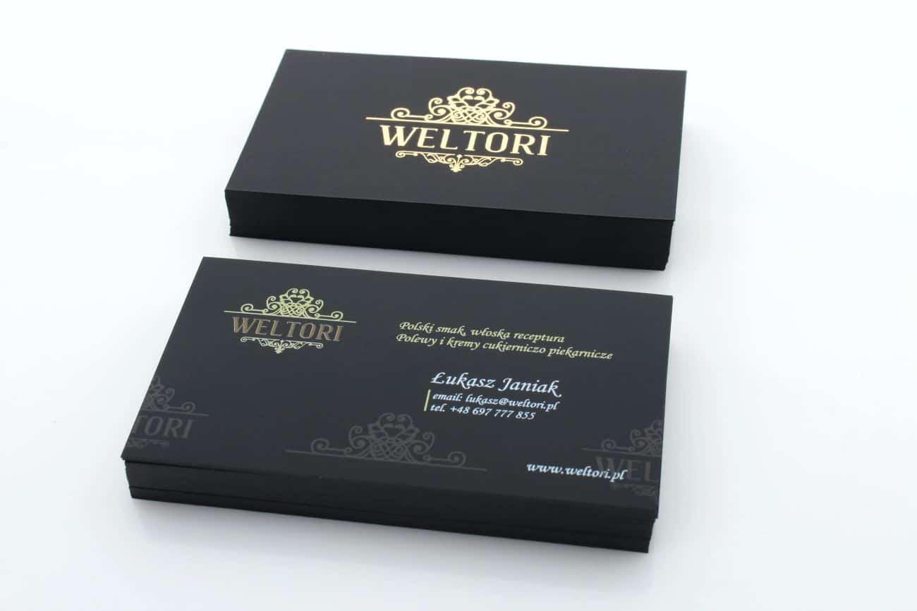 wizytówki ze złoconymi elementami realizowane dla firmy Weltori