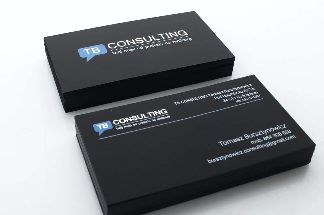 czarne wizytówki ze srebrzeniem dla firmy TB Consulting