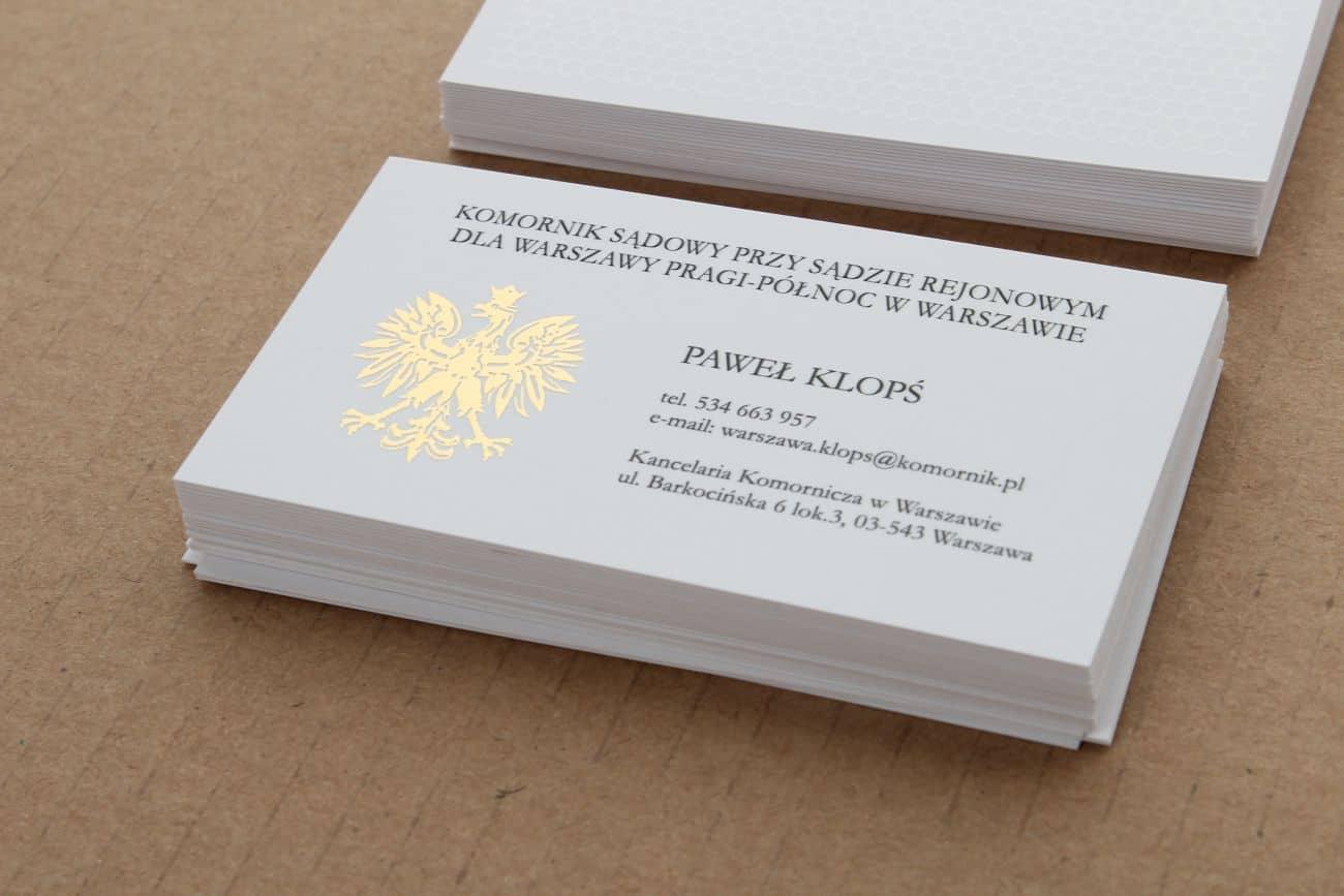 wizytówki ze złoceniem i lakierem UV 3D dla komornika Paweł Klopś