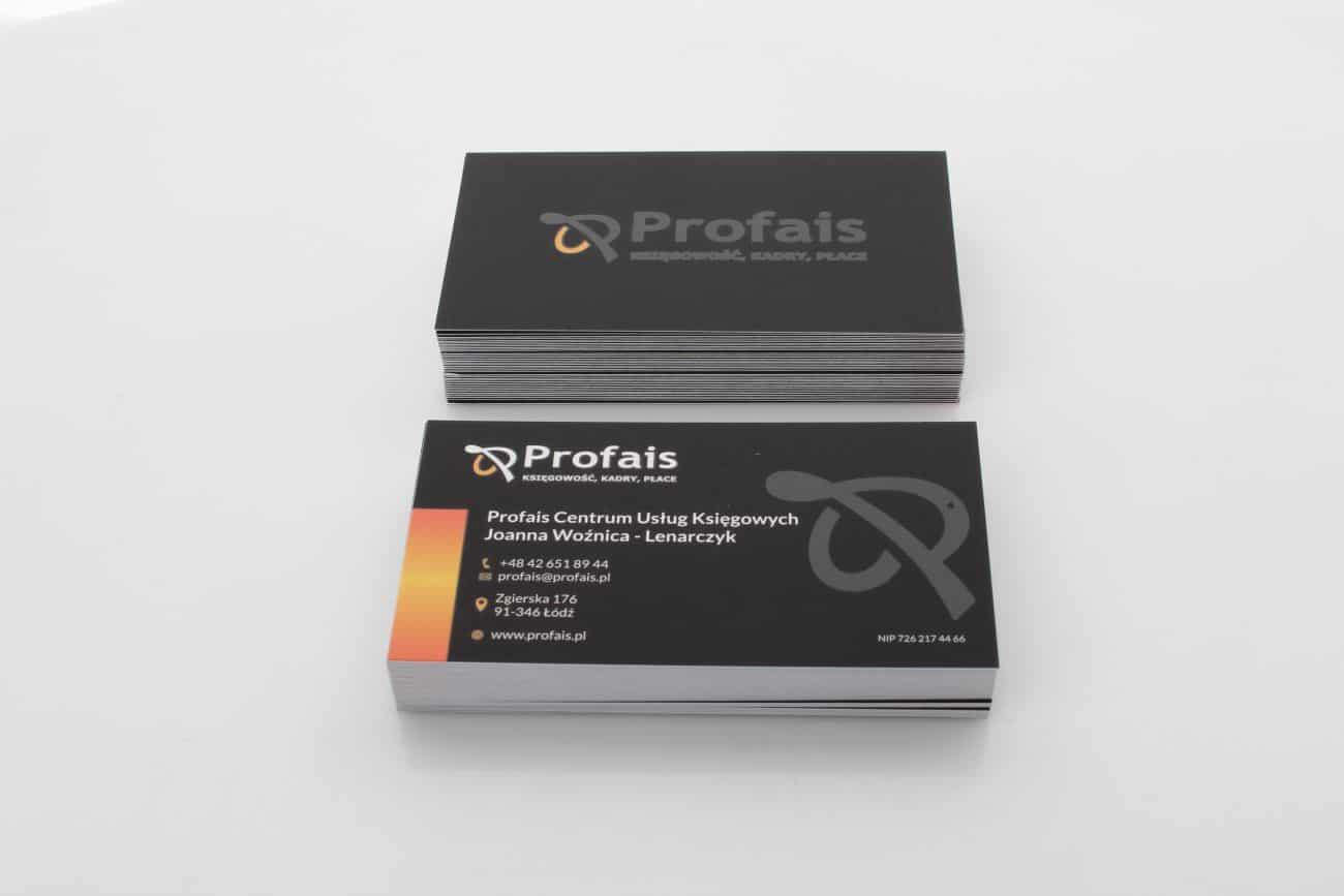 wizytówki dla Profais z folią soft touch i lakierem UV