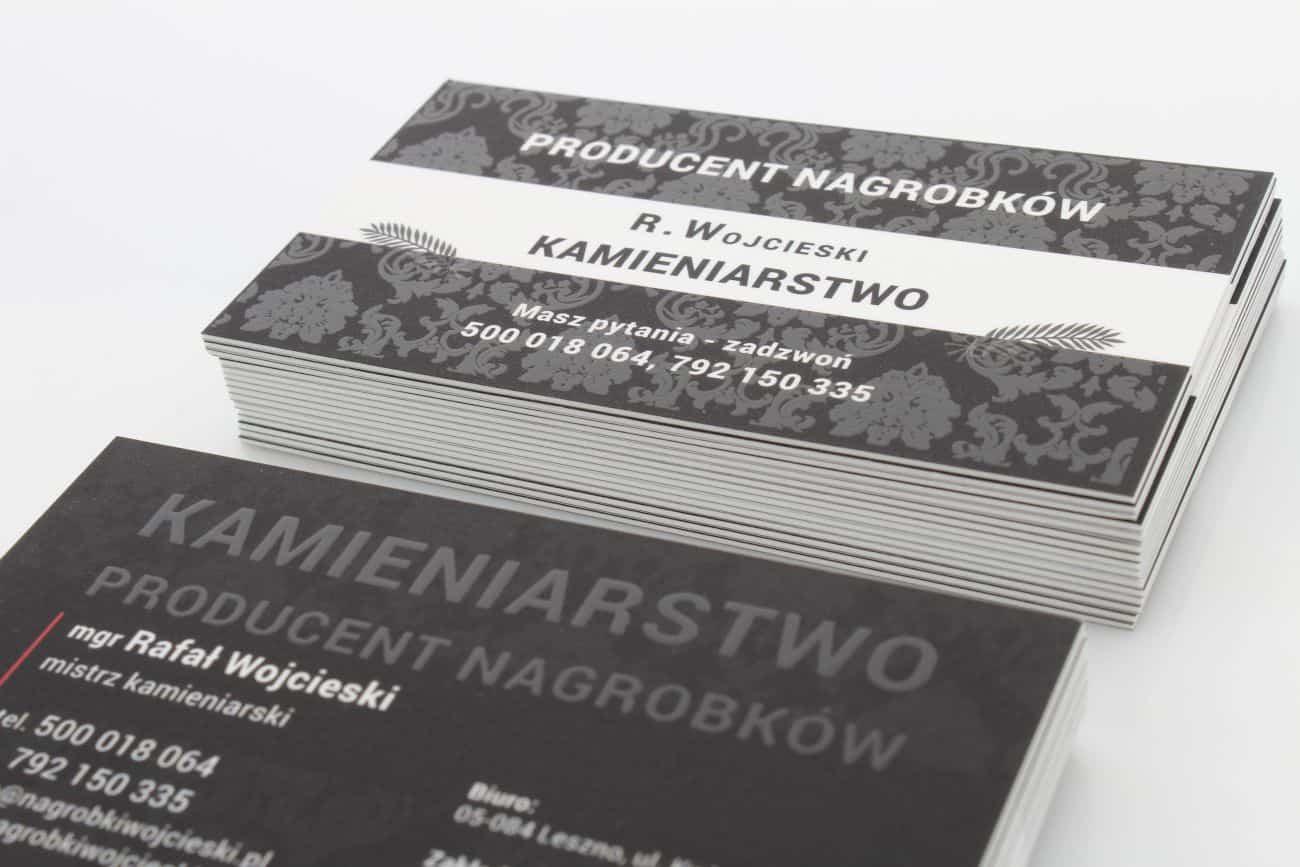 czarne grube wizytówki z lakierem UV dla Producenta Nagrobków