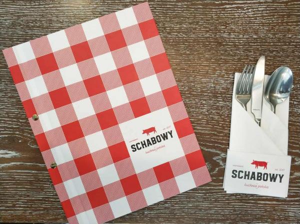 kolorowa okładka na karty menu dla restauracji Schabowy